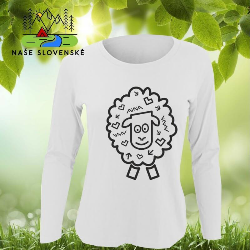 Dámske tričko s dlhým rukávom Ovečka - biele, veľkosť S