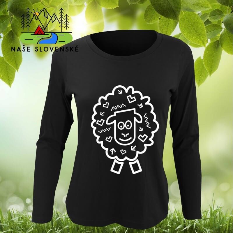 Dámske tričko s dlhým rukávom Ovečka - čierne, veľkosť S