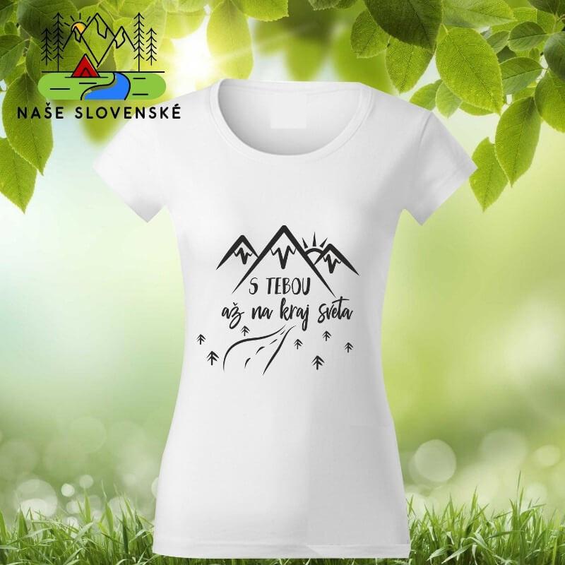 Dámske tričko s krátkym rukávom S tebou - biele, veľkosť S