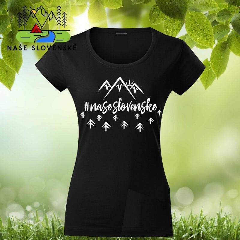 Dámske tričko s krátkym rukávom Naše slovenské - čierne, veľkosť S