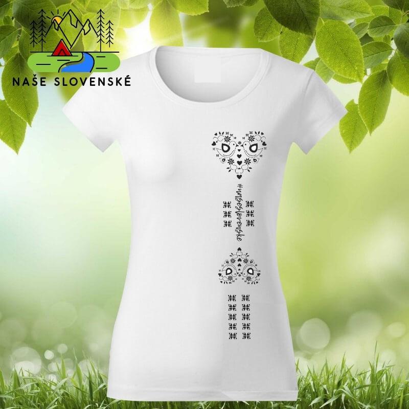 Dámske tričko s krátkym rukávom Srdce - biele, veľkosť S