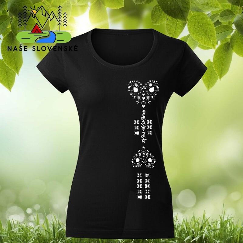 Dámske tričko s krátkym rukávom Srdce - čierne, veľkosť S