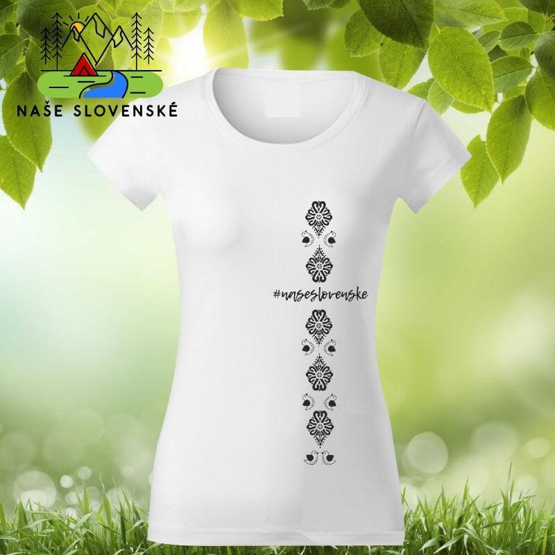 Dámske tričko s krátkym rukávom Vtáčiky - biele, veľkosť XXL