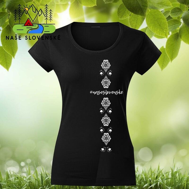 Dámske tričko s krátkym rukávom Vtáčiky - čierne, veľkosť S
