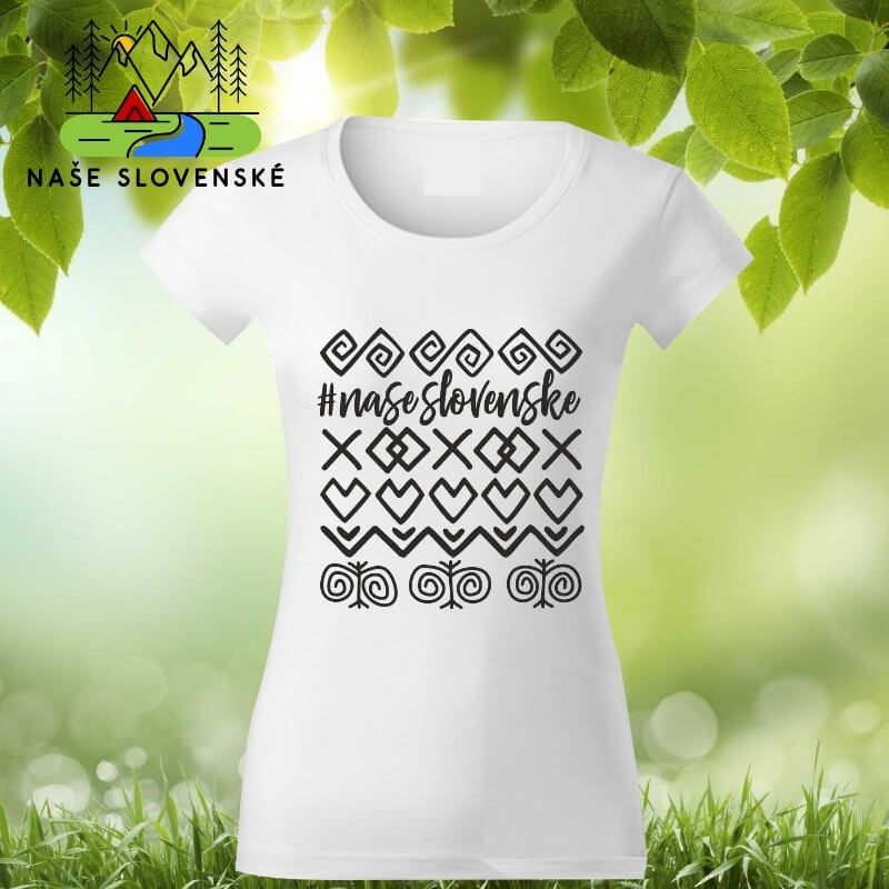 Dámske tričko s krátkym rukávom Čičmany - biele, veľkosť S