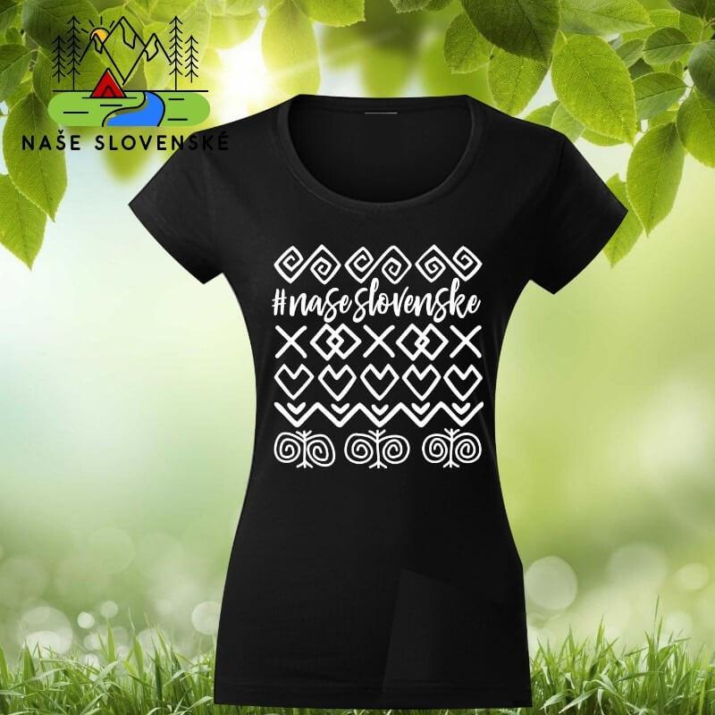 Dámske tričko s krátkym rukávom Čičmany - čierne, veľkosť S