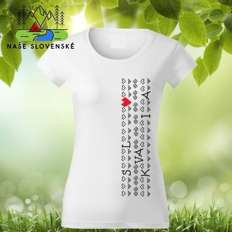 Dámske tričko s krátkym rukávom Slovakia - biele, veľkosť S