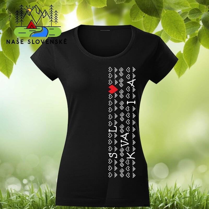 Dámske tričko s krátkym rukávom Slovakia - čierne, veľkosť S