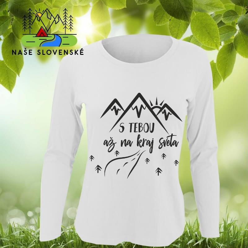 Dámske tričko s dlhým rukávom S tebou - biele, veľkosť S