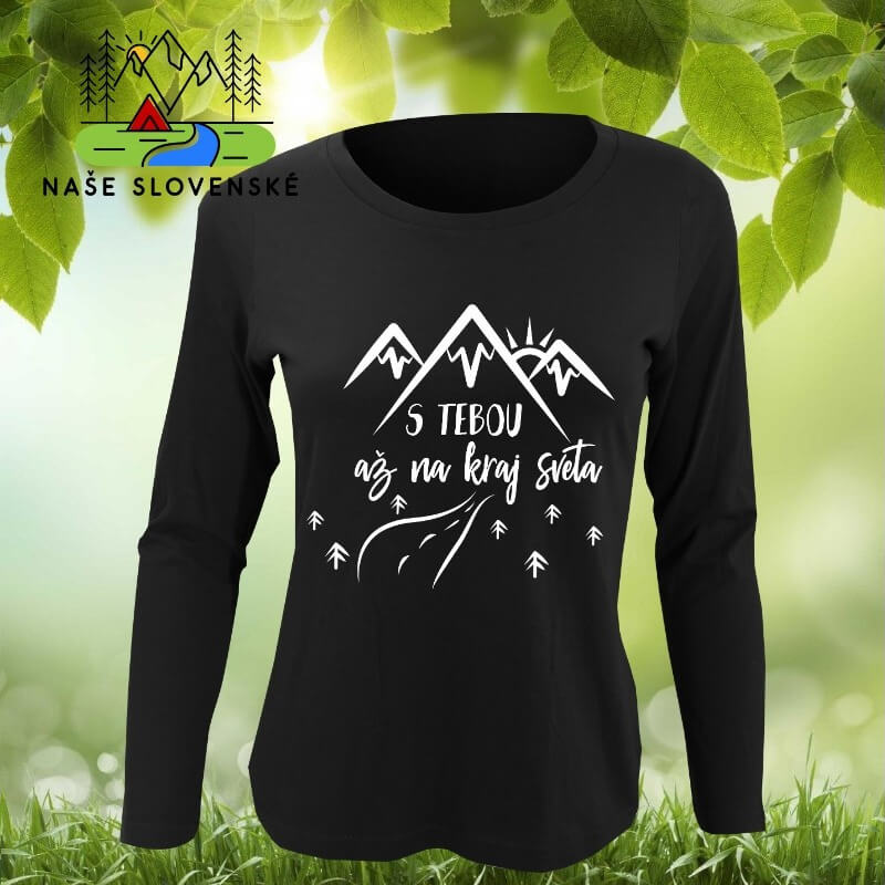 Dámske tričko s dlhým rukávom S tebou - čierne, veľkosť S