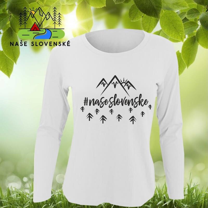 Dámske tričko s dlhým rukávom Naše slovenské - biele, veľkosť S