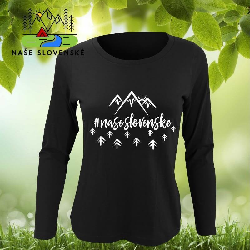 Dámske tričko s dlhým rukávom Naše slovenské - čierne, veľkosť S