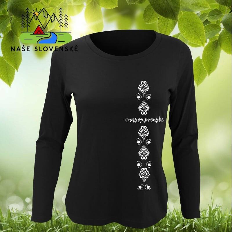 Dámske tričko s dlhým rukávom Vtáčiky - čierne, veľkosť S