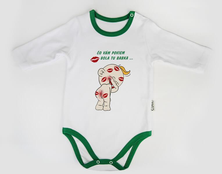 Detské body Bola tu babka - zelené (3 mesiace)