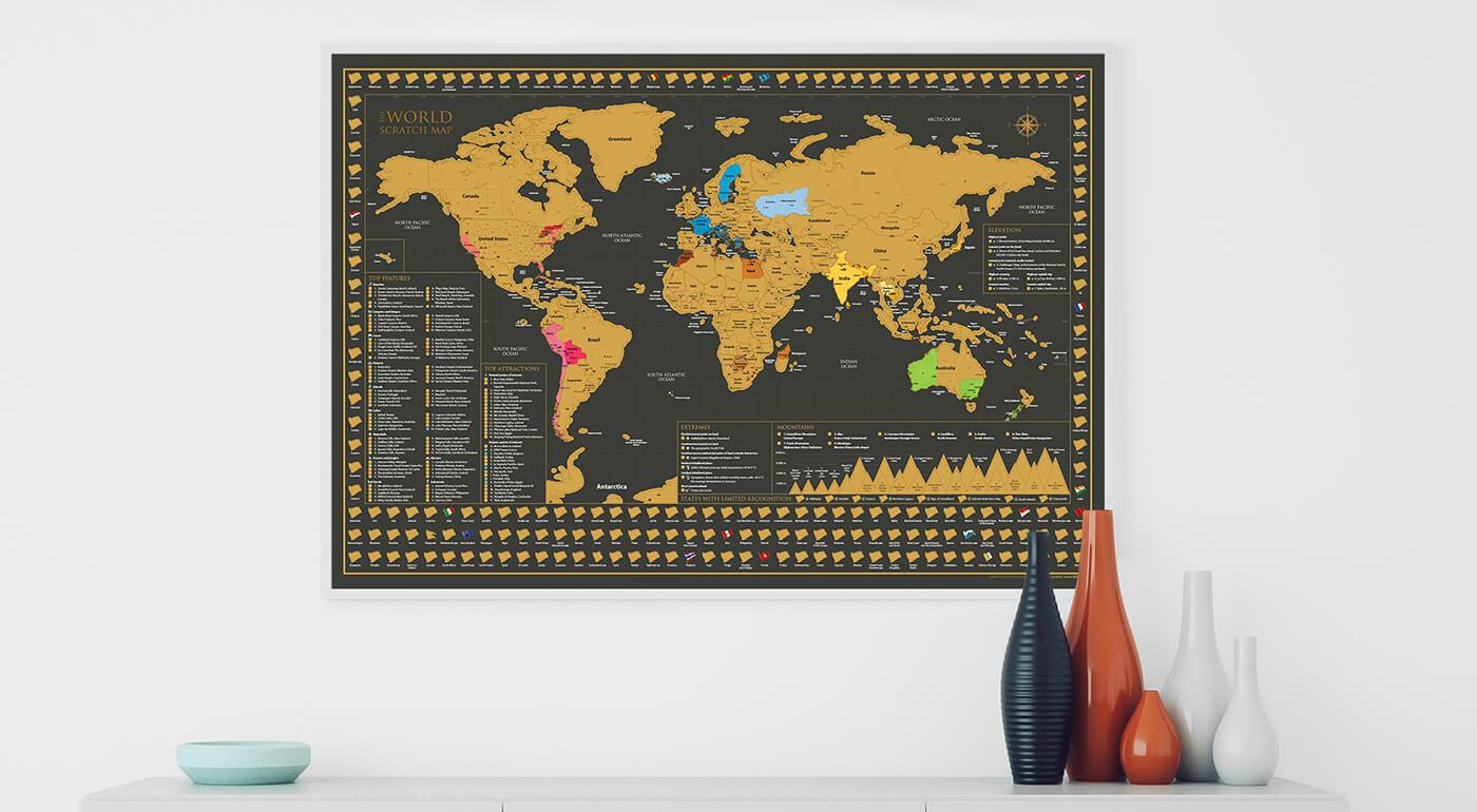 Jedinečná stieracia mapa sveta s najkrajšími pamiatkami a zaujímavosťami