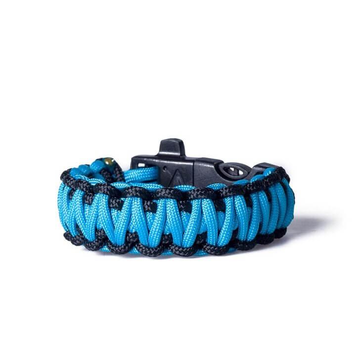 Paracord survival náramok prežitia s magnéziovým kresadlom - modro-čierny