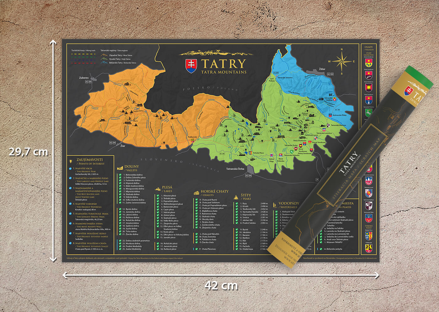 UVÁDZACIA CENA: Stieracia mapa Tatier vo formáte A3 - darčeková verzia (šírka 420 mm x výška 297 mm)