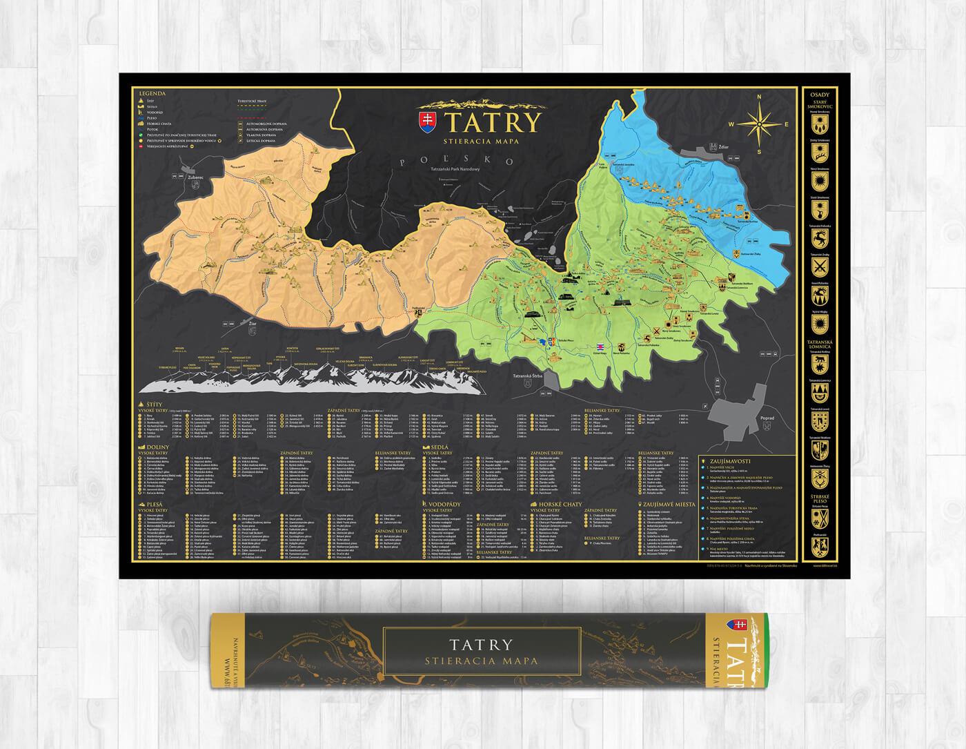 Stieracia mapa Tatier vo formáte A1 - darčeková verzia (šírka 841 mm x výška 594 mm)