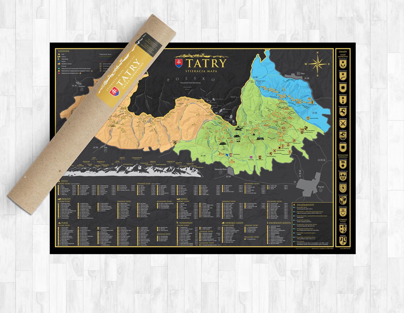 Stieracia mapa Tatier vo formáte A1 (šírka 841 mm x výška 594 mm)
