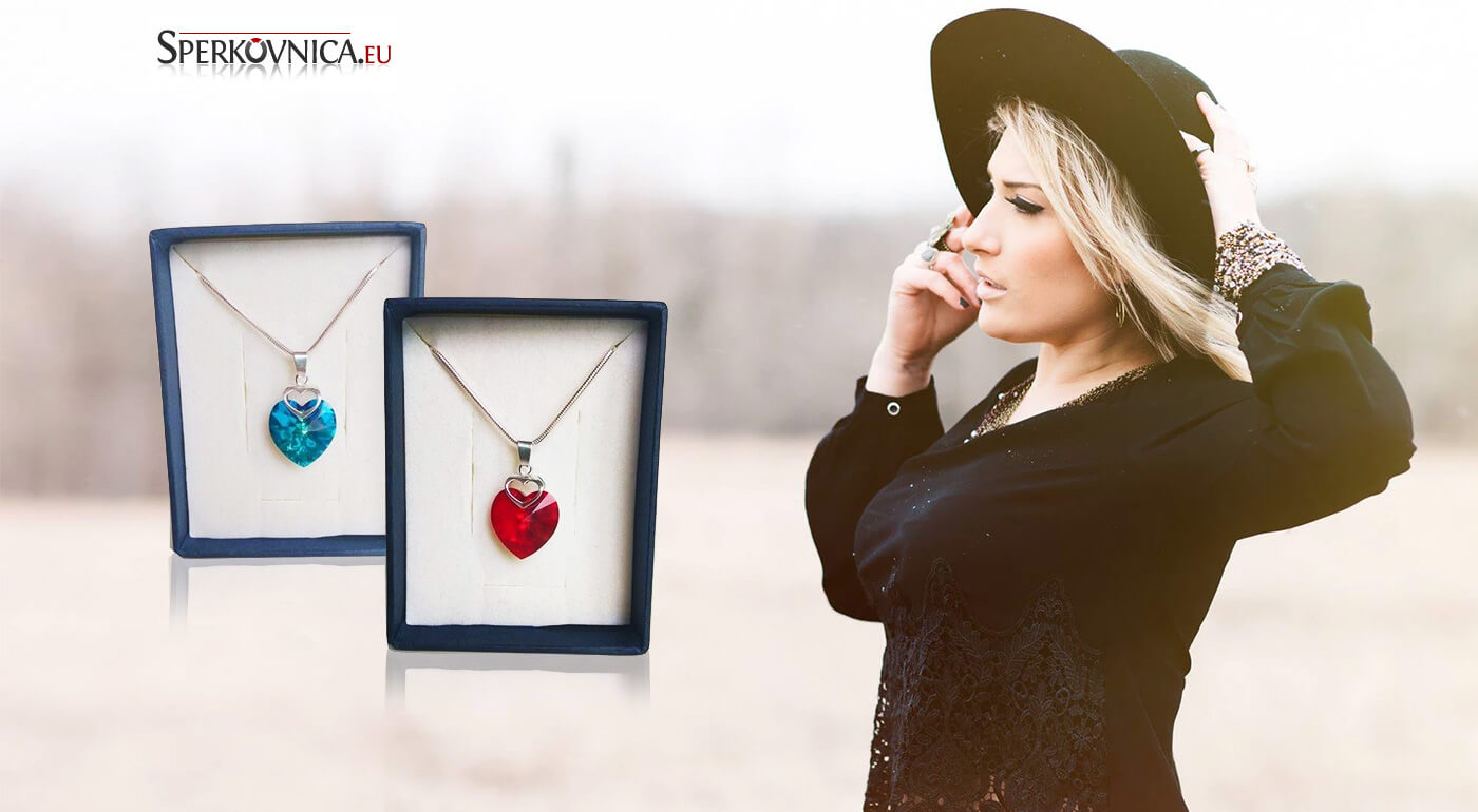 Elegantný prívesok Swarovski Srdce v srdci v rôznych farbách - aj v darčekovej krabičke s retiazkou
