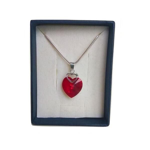 Prívesok Srdce v srdci SWAROVSKI - Siam Red (veľkosť 18 mm)