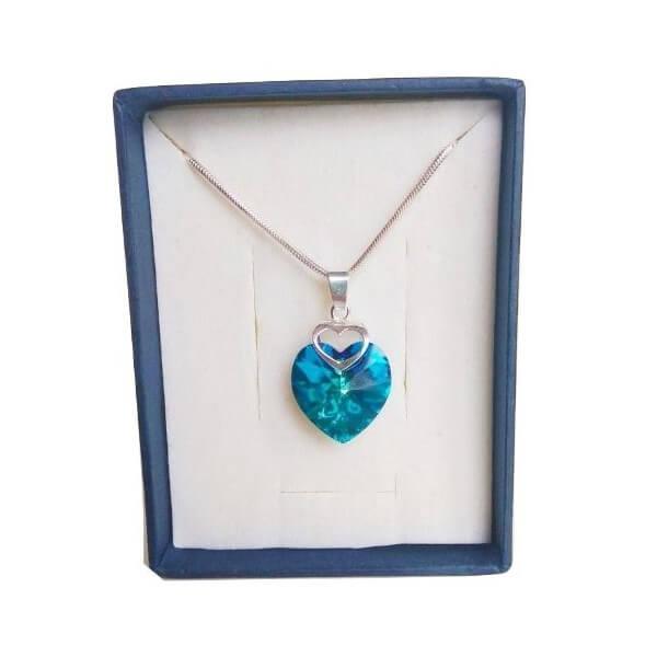Prívesok Srdce v srdci SWAROVSKI - Bermuda Blue (veľkosť 18 mm)