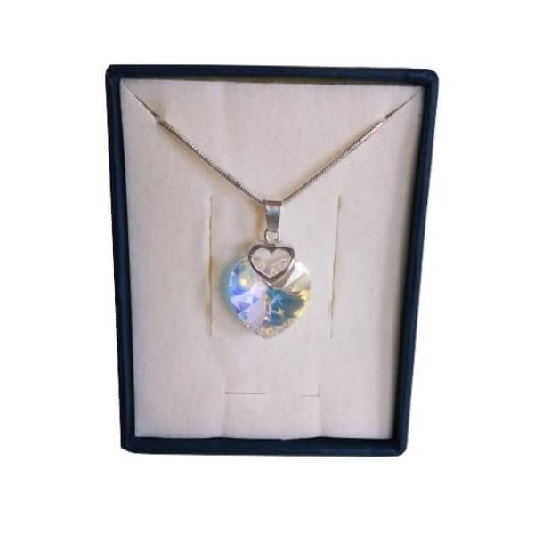 Prívesok Srdce v srdci SWAROVSKI - Crystal AB (veľkosť 18 mm)