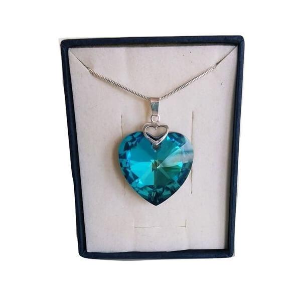 Prívesok Srdce v srdci SWAROVSKI - Bermuda Blue (veľkosť 28 mm)