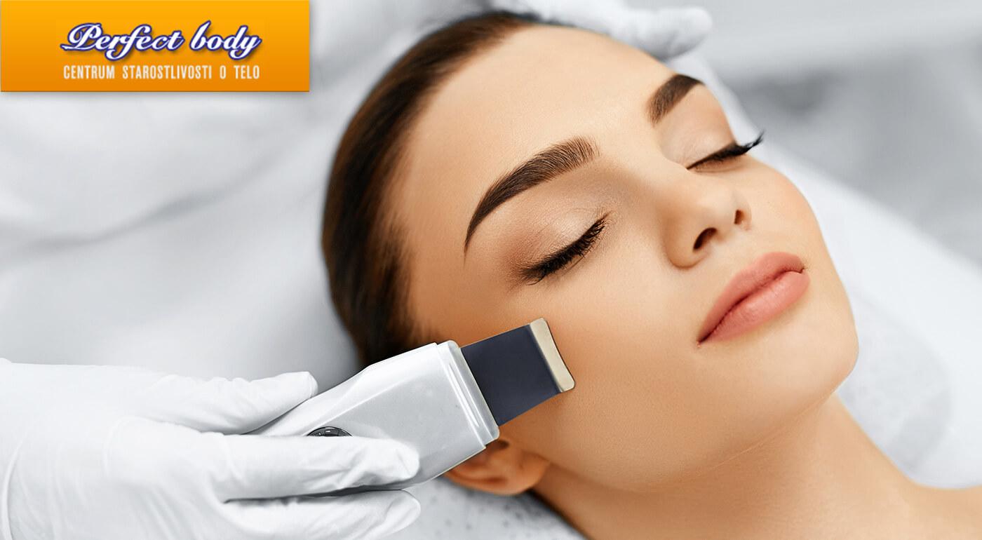 Čistenie pleti ultrazvukovou špachtľou a masáž tváre v salóne Perfect Body