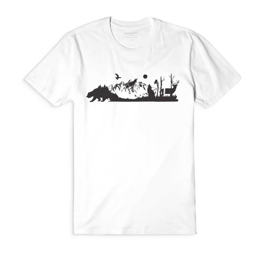 Dámske tričko s krátkym rukávom Volanie divočiny - biele, veľkosť S