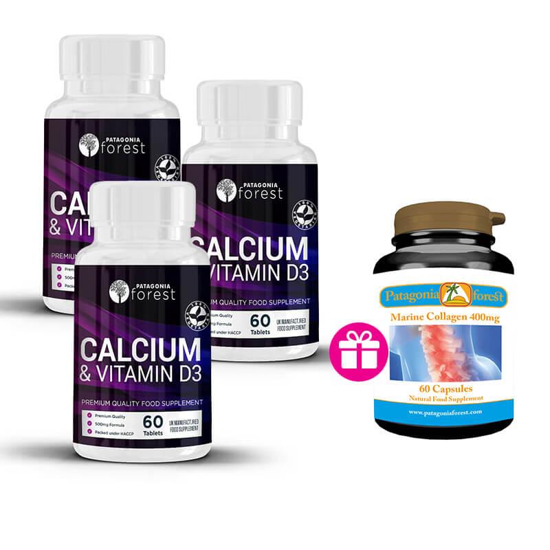 3x Vitamín D3 a Calcium (60 kapsúl) + 1x balenie Marine collagen GRÁTIS