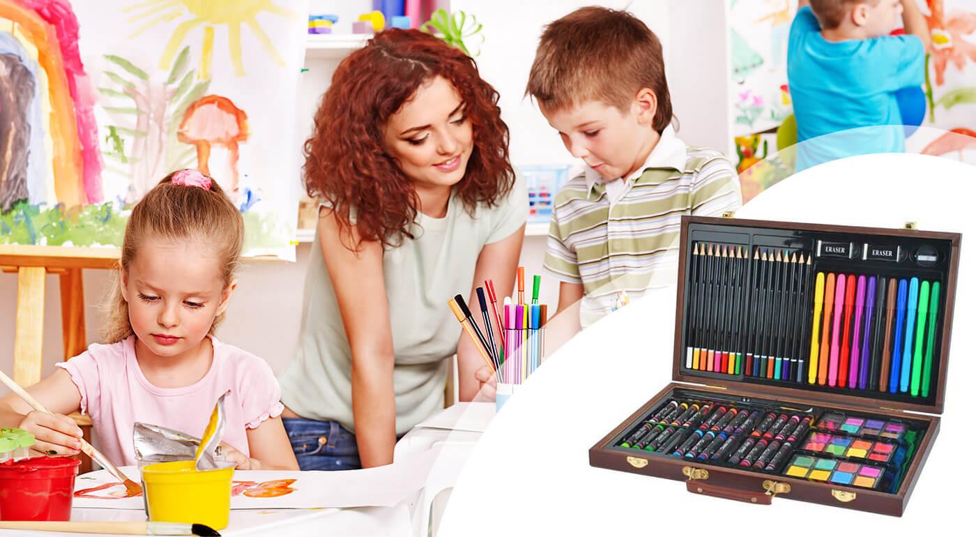 Detská sada na kreslenie a maľovanie v kufríku - až 81 kusov maliarskych potrieb pre malých umelcov!