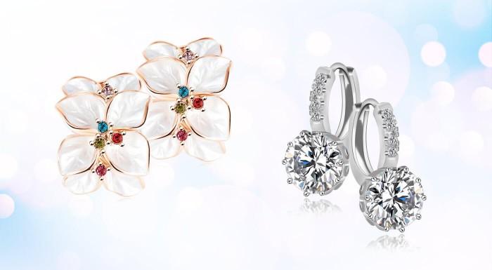 Set šperkov alebo náušnice so zirkónmi