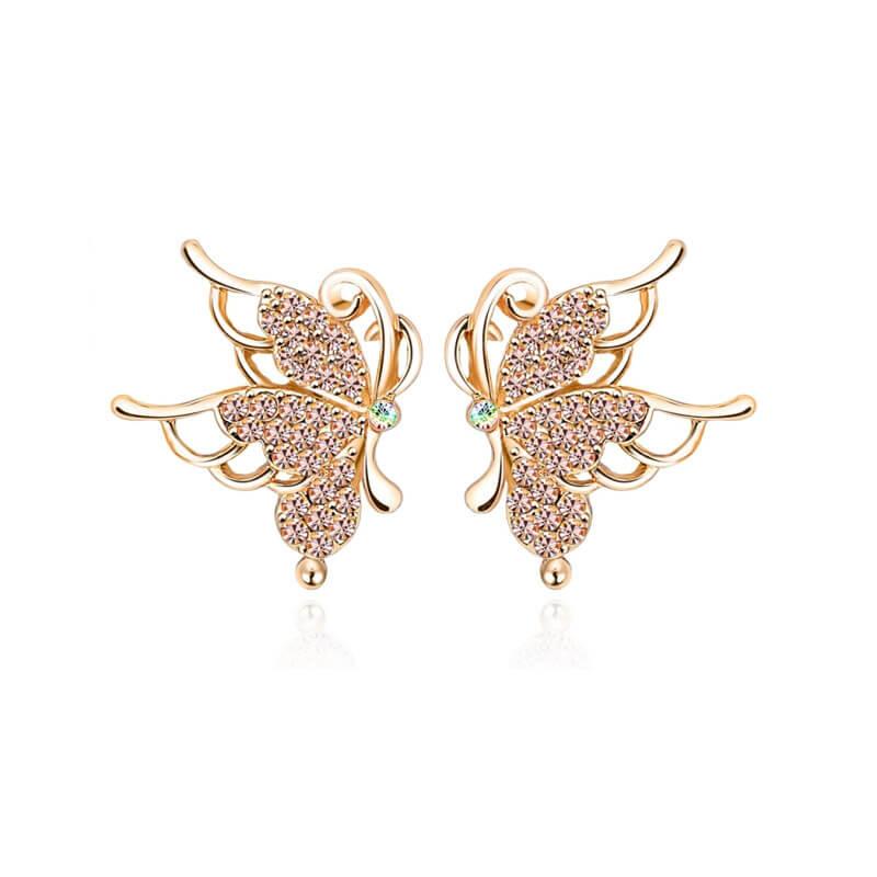 Náušnice Butterfly so žiarivými rakúskymi kryštálmi a trojitou vrstvou 18-karátového zlata