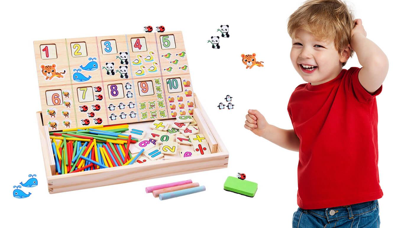 Detská matematická tabuľka s kriedami (28,5x18x3 cm)
