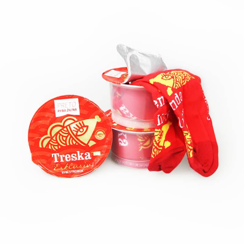 FunnySOX ponožky Treska červená - veľkosť 36-40