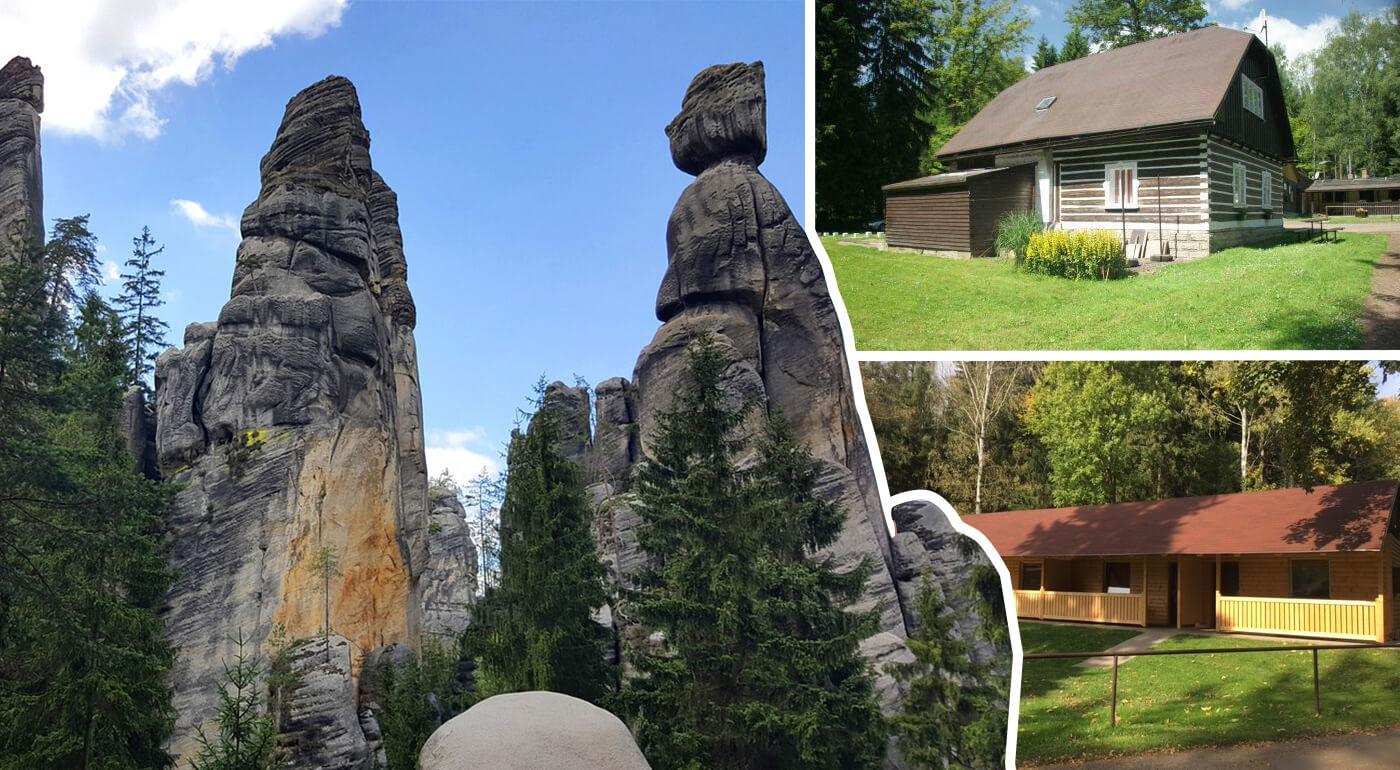Chatky Zděřina pri Adršpachu v pokojnej prírode s ubytovaním na 3-8 dní pre 2 osoby s polpenziou