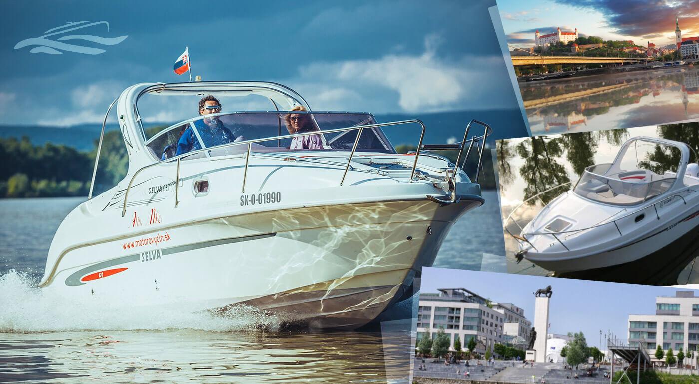 1,5-hodinová plavba pre 6 osôb novým motorovým člnom SELVA 6,7 Cruiser - trasa: BRATISLAVA CENTRUM, KARLOVESKÉ RAMENO, DEVÍN