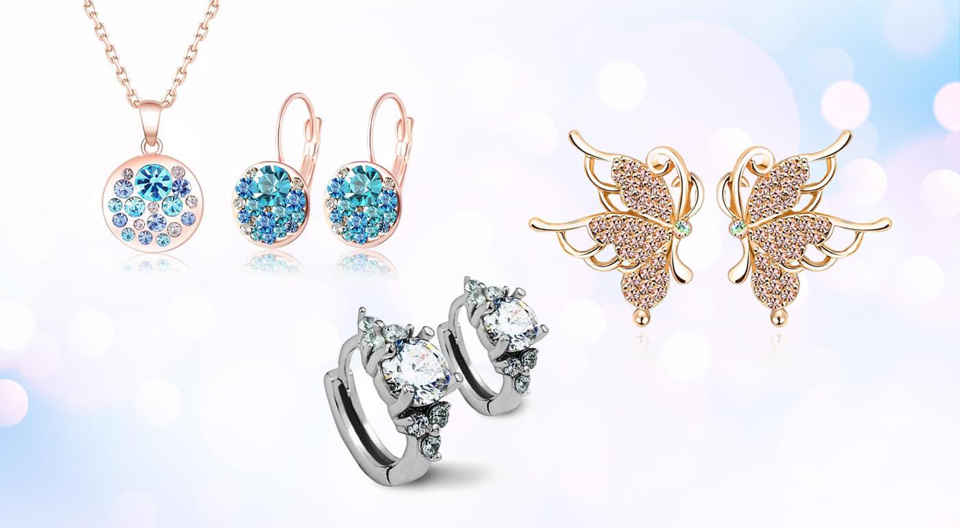 Set šperkov alebo náušnice so zirkónmi a rakúskymi krištáľmi + darčeková krabička zdarma