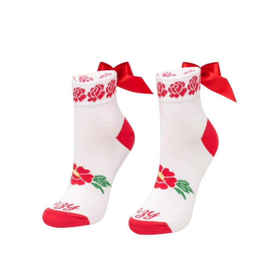 Crazy Step biele folkové ponožky s mašľou - veľkosť 35-38