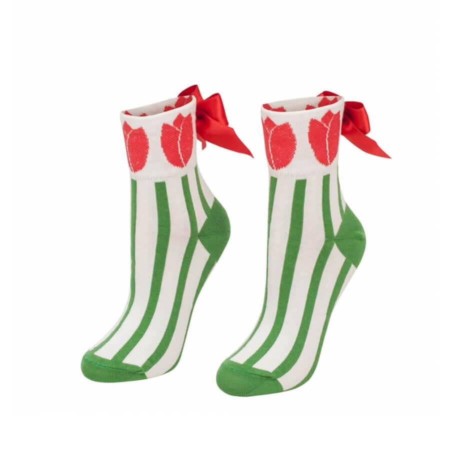 Crazy Step folkové ponožky s mašľou Tulipány - veľkosť 35-38