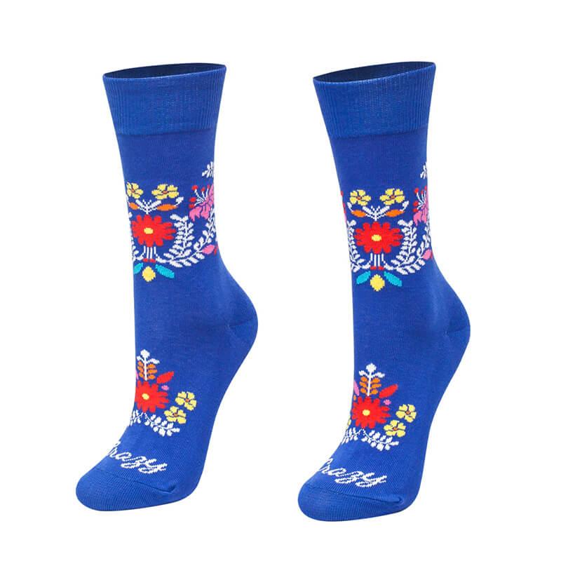 Crazy Step ponožky Folk kvietky modré - veľkosť 35-38