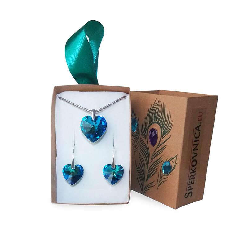 Súprava náušníc a prívesku SWAROVSKI Bermuda Blue v darčekovej krabičke