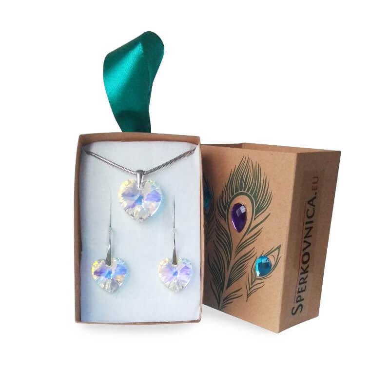 Súprava náušníc a prívesku SWAROVSKI Crystal AB v darčekovej krabičke