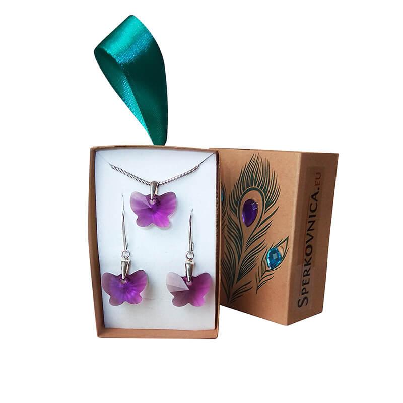 Súprava náušníc a prívesku SWAROVSKI Motýľ ametyst v darčekovej krabičke