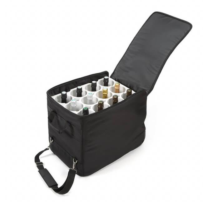 Wine Check skladací kufor na 12 fliaš čierny