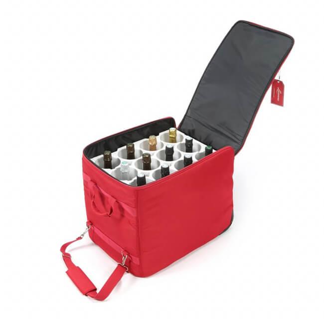 Wine Check skladací kufor na 12 fliaš červený