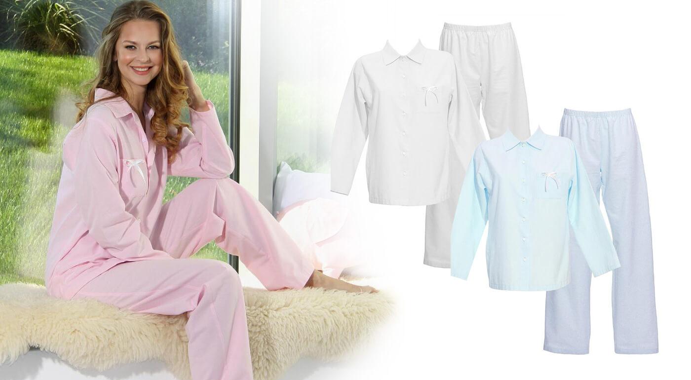 Dámske pyžamo z organickej bavlny a flanelu vyrobené na Slovensku