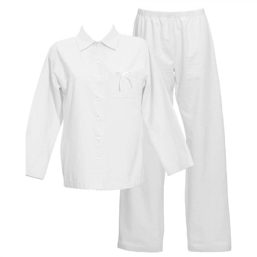 Dámske bio flanelové pyžamo Lotus - biele, veľkosť S