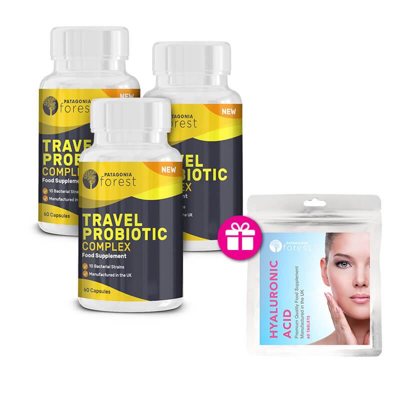 Patagonia Forest: 3x Travel Probiotic Complex 60 tabliet + 1x Kyselina hyaluronová 60 tabliet GRÁTIS